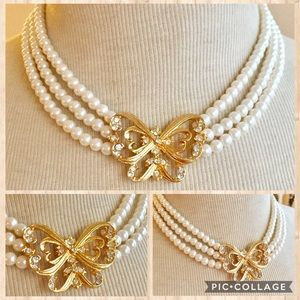 Vintage gold butterfly pearl necklace